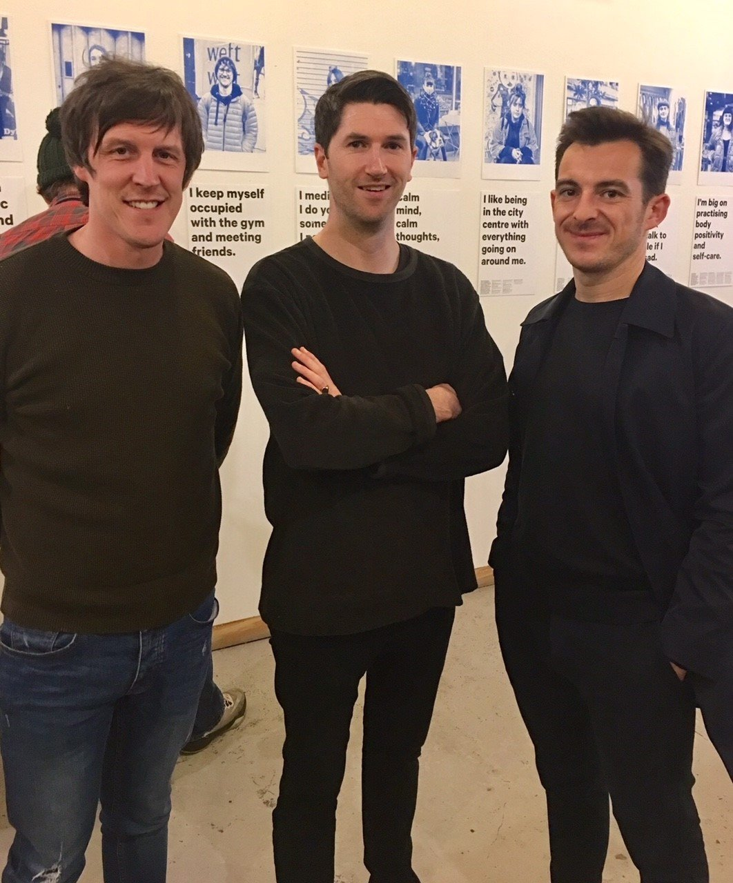 Leighton Baines with Baltic Triangle's Russell Gannon and The Mind Map Editor Phil Bridges