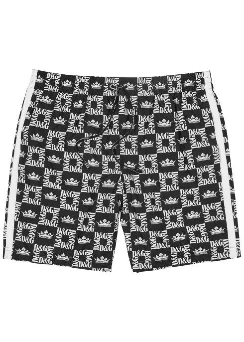 Harvey Nichols Manchester Dolce Gabbana Monochrome logo print swim shorts £335 Availabe in store and online